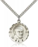 "Sterling Silver St. Vincent De Paul Pendant, Stainless Silver Heavy Curb Chain, 1"" x 7/8"""