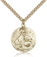 "Gold Filled St. Albert the Great Pendant, Stainless Gold Heavy Curb Chain, 1"" x 7/8"""