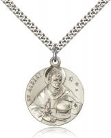 "Sterling Silver St. Albert the Great Pendant, Stainless Silver Heavy Curb Chain, 1"" x 7/8"""