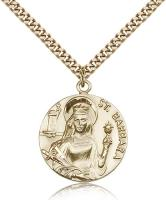 "Gold Filled St. Barbara Pendant, Stainless Gold Heavy Curb Chain, 1"" x 7/8"""
