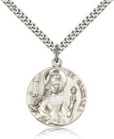 "Sterling Silver St. Barbara Pendant, Stainless Silver Heavy Curb Chain, 1"" x 7/8"""