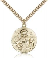 "Gold Filled St. Bernard of Clairvaux Pendant, Stainless Gold Heavy Curb Chain, 1"" x 7/8"""