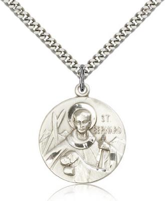 "Sterling Silver St. Bernard of Clairvaux Pendant, Stainless Silver Heavy Curb Chain, 1"" x 7/8"""