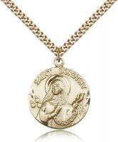 "Gold Filled St. Dorothy Pendant, Stainless Gold Heavy Curb Chain, 1"" x 7/8"""