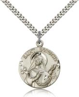 "Sterling Silver St. Dorothy Pendant, Stainless Silver Heavy Curb Chain, 1"" x 7/8"""