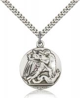 "Sterling Silver St. Michael the Archangel Pendant, Stainless Silver Heavy Curb Chain, 1"" x 7/8"""