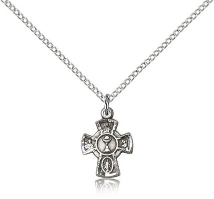 "Sterling Silver 5-Way / Chalice Pendant, Sterling Silver Lite Curb Chain, 5/8"" x 3/8"""