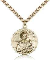 "Gold Filled St. Lawrence Pendant, Stainless Gold Heavy Curb Chain, 1"" x 7/8"""
