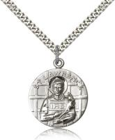 "Sterling Silver St. Lawrence Pendant, Stainless Silver Heavy Curb Chain, 1"" x 7/8"""
