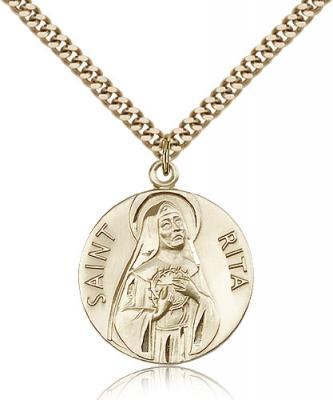 "Gold Filled St. Rita of Cascia Pendant, Stainless Gold Heavy Curb Chain, 1"" x 7/8"""