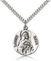"Sterling Silver St. Rita of Cascia Pendant, Stainless Silver Heavy Curb Chain, 1"" x 7/8"""