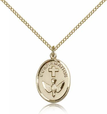 "Gold Filled Confirmation Pendant, Gold Filled Lite Curb Chain, 3/4"" x 1/2"""