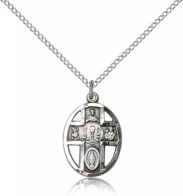"Sterling Silver 5-Way / Chalice Pendant, Sterling Silver Lite Curb Chain, 3/4"" x 1/2"""