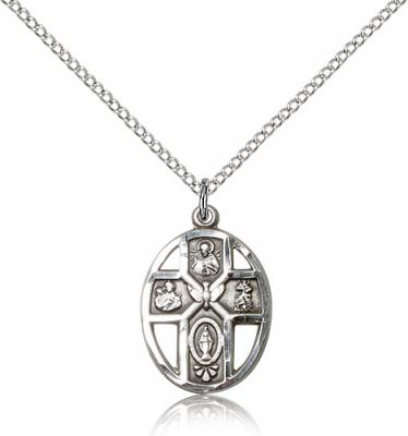 "Sterling Silver 5-Way / Holy Spirit Pendant, Sterling Silver Lite Curb Chain, 3/4"" x 1/2"""