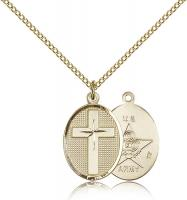 "Gold Filled Cross / Army Pendant, Gold Filled Lite Curb Chain, 3/4"" x 1/2"""