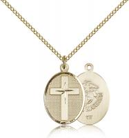 "Gold Filled Cross / Marines Pendant, Gold Filled Lite Curb Chain, 3/4"" x 1/2"""
