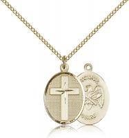 "Gold Filled Cross / National Guard Pendant, Gold Filled Lite Curb Chain, 3/4"" x 1/2"""
