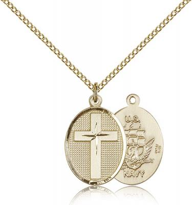 "Gold Filled Cross / Navy Pendant, Gold Filled Lite Curb Chain, 3/4"" x 1/2"""