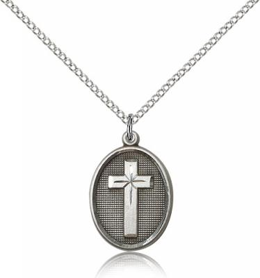 "Sterling Silver Cross Pendant, Sterling Silver Lite Curb Chain, 3/4"" x 1/2"""