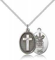 "Sterling Silver Cross / Air Force Pendant, Sterling Silver Lite Curb Chain, 3/4"" x 1/2"""