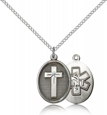 "Sterling Silver Cross / Emt Pendant, Sterling Silver Lite Curb Chain, 3/4"" x 1/2"""