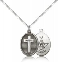 "Sterling Silver Cross / Army Pendant, Sterling Silver Lite Curb Chain, 3/4"" x 1/2"""