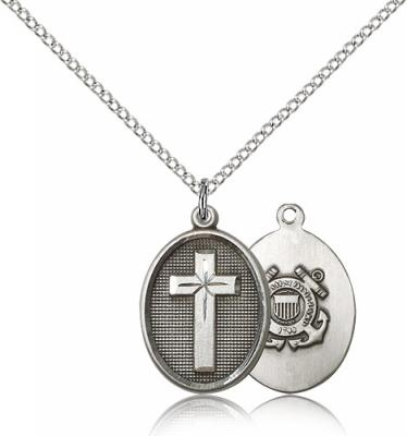 "Sterling Silver Cross / Coast Guard Pendant, Sterling Silver Lite Curb Chain, 3/4"" x 1/2"""