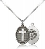 "Sterling Silver Cross / Marines Pendant, Sterling Silver Lite Curb Chain, 3/4"" x 1/2"""