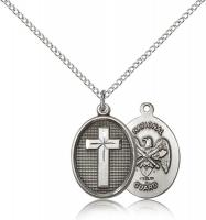 "Sterling Silver Cross / National Guard Pendant, Sterling Silver Lite Curb Chain, 3/4"" x 1/2"""