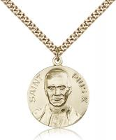 "Gold Filled Pope Pius X Pendant, Stainless Gold Heavy Curb Chain, 1"" x 7/8"""