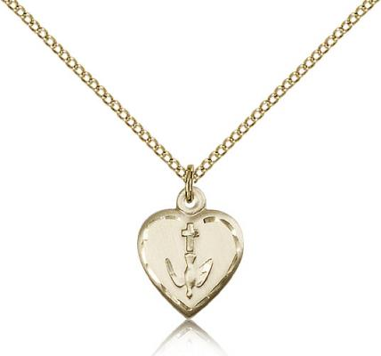 "Gold Filled Heart / Communion Pendant, Gold Filled Lite Curb Chain, 5/8"" x 1/2"""