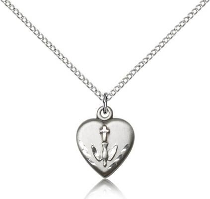 "Sterling Silver Heart / Communion Pendant, Sterling Silver Lite Curb Chain, 5/8"" x 1/2"""