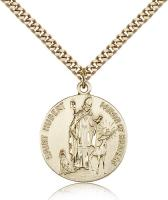 "Gold Filled St. Hubert of Liege Pendant, Stainless Gold Heavy Curb Chain, 1"" x 7/8"""