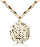 "Gold Filled St. Thomas More Pendant, Stainless Gold Heavy Curb Chain, 1"" x 7/8"""