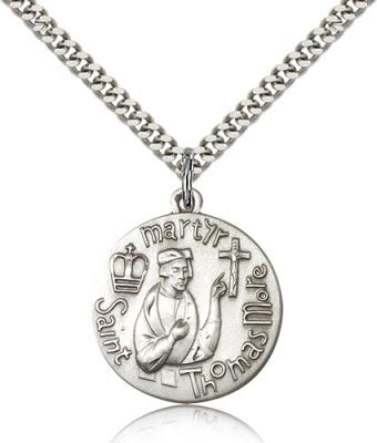 "Sterling Silver St. Thomas More Pendant, Stainless Silver Heavy Curb Chain, 1"" x 7/8"""