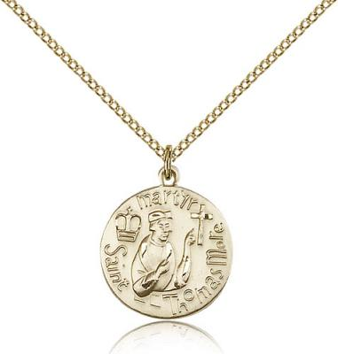 "Gold Filled St. Thomas More Pendant, Gold Filled Lite Curb Chain, 3/4"" x 5/8"""