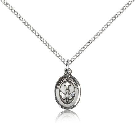 "Sterling Silver Confirmation Pendant, Sterling Silver Lite Curb Chain, 1/2"" x 3/8"""