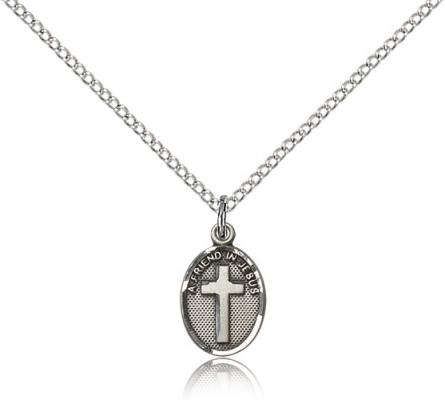 "Sterling Silver Friend In Jesus Cross Pendant, Sterling Silver Lite Curb Chain, 1/2"" x 1/4"""