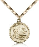 "Gold Filled St. Pope John XXII Pendant, Stainless Gold Heavy Curb Chain, 1"" x 7/8"""