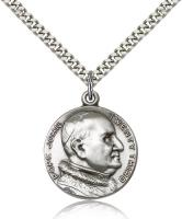 "Sterling Silver St. Pope John XXII Pendant, Stainless Silver Heavy Curb Chain, 1"" x 7/8"""