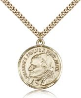 "Gold Filled St. Pope John Paul II Pendant, Stainless Gold Heavy Curb Chain, 1"" x 7/8"""