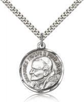 "Sterling Silver St. Pope John Paul II Pendant, Stainless Silver Heavy Curb Chain, 1"" x 7/8"""