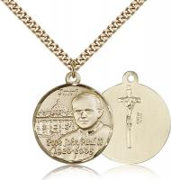 "Gold Filled Pope John Paul II Pendant, Stainless Gold Heavy Curb Chain, 1"" x 7/8"""