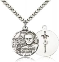 "Sterling Silver Pope John Paul II Pendant, Stainless Silver Heavy Curb Chain, 1"" x 7/8"""