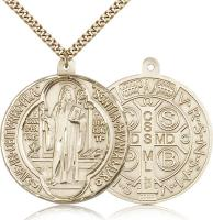 "Gold Filled St. Benedict Pendant, Stainless Gold Heavy Curb Chain, 1 5/8"" x 1 1/2"""