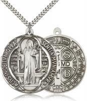"Sterling Silver St. Benedict Pendant, Stainless Silver Heavy Curb Chain, 1 5/8"" x 1 1/2"""