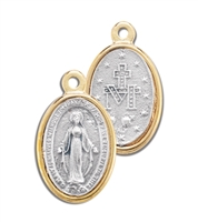 GOLD RIMMED SILVER MIRACULOUS MEDAL