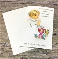 To a Dear Goddaughter with love on Her First Communion Greeting Card