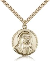 "Gold Filled St. Louise Pendant, Stainless Gold Heavy Curb Chain, 1"" x 7/8"""