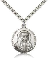 "Sterling Silver St. Louise Pendant, Stainless Silver Heavy Curb Chain, 1"" x 7/8"""